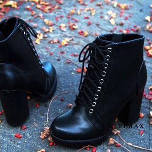 NEW🔥 Lace-Up Chunky Heel Platform Combat Booties